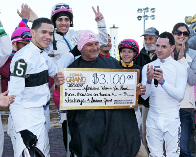Indiana Grand Jockeys Raise $3,100 for Cancer Care During Pink Out Night